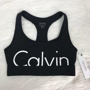 New Calvin Klein Logo Stretch Racerback Sports Bra